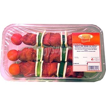 CAMPORAL Brochetas de cerdo adobado y vegetales Bandeja 380 g