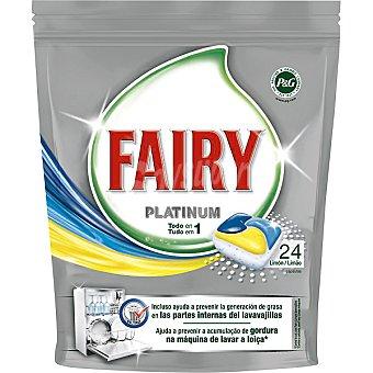FAIRY detergente lavavajillas Platinum limón todo en 1 envase 24 pastillas