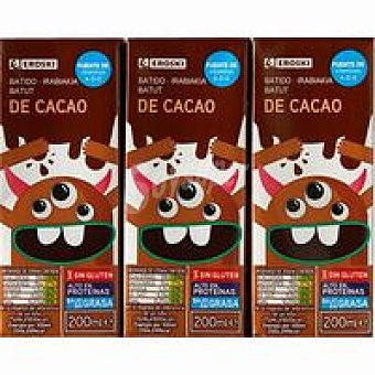 Eroski Batido de cacao Pack 6x200 ml