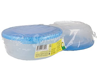 PRODUCTO Lote de 6 recipientes herméticos redondos de plástico transparente, 2x0.5 litros, 2x1 litro, 2x1.7 litros. Resistentes hasta 100ºC económico 2x0.5 litros