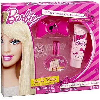 Barbie eau de toilette natural infantil + lazo para el pelo + loción corporal tubo 60 ml Spray 30 ml