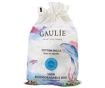 GAULÍE Bolas de algodón 100% natural y con envase 100 % biodegradable 100 uds