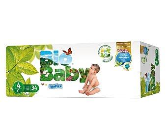 BIO BABY Pañal Ecológico 9-13 kg Talla 4 Paquete 34 unid
