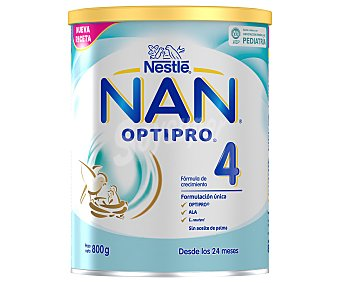 Nan Leche (4) infantil de continuación en polvo, con hierro y 13 vitaminas, a partir de 24 meses optipro 800 g