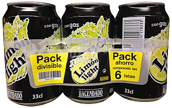 Hacendado Limón con gas light 6 latas de 33 cl