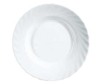 LUMINARC Plato hondo modelo Trianon de 22,5 centímetros, fabricado en vidrio Opal de color blanco y diseño redondeado con borde ondulado 1 Unidad