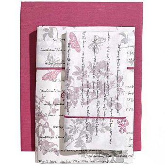 CASACTUAL Jardín Juego de cama estampado con letras y mariposas en color malva para cama 150 cm