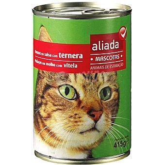 Aliada Alimento completo con ternera en salsa para gatos Lata 415 g