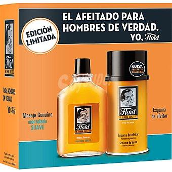 Floïd Estuche de afeitado con masaje mentolado suave + espuma de afeitar hidratante y protectora