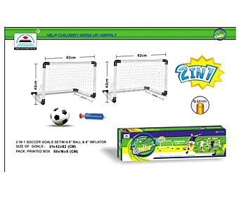 SNC Set de 2 miniporterias de plástico con tubo de 22 milimetros y 62x42x31 centímetros, 1 minibalón y 1 hinchador de balones 1 unidad
