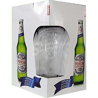 Peroni Cerveza rubia pack 4 botella 33 cl + vaso Pack 4 botella 33 cl