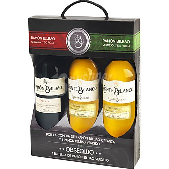RAMON BILBAO vino tinto crianza D.O. Rioja + vino blanco verdejo D.O. Rueda con regalo de vino blanco verdejo botella 75 cl Estuche 2 botellas 75 cl