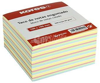 Kores Tacos de 500 notas de engomadas, cuadradas de 100x100 milímetros y de colores pastel KORES 80 gramos