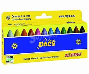 Alpino Caja de 12 ceras blandas para colorear, ideales para uso escolar Dacs Dacs