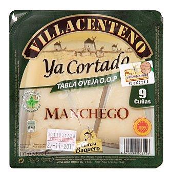 Villacenteno Queso manchego de oveja madurado graso elaborado con leche pasteurizada ya cortado cuña sin gluten D.O.P 110 g