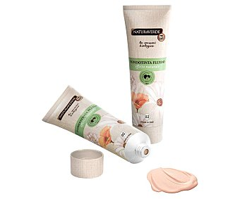 Naturaverde Fondo de maquillaje con textura líquida y cremosa, tono 002 Beige NATURAVERDE.