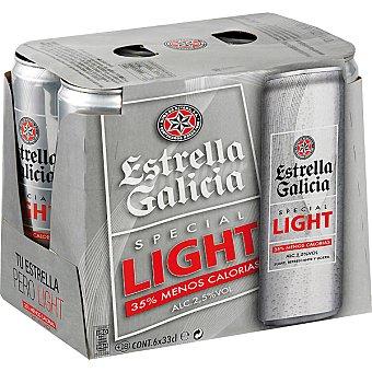 ESTRELLA GALICIA light cerveza rubia nacional especial  pack 6 latas 33 cl