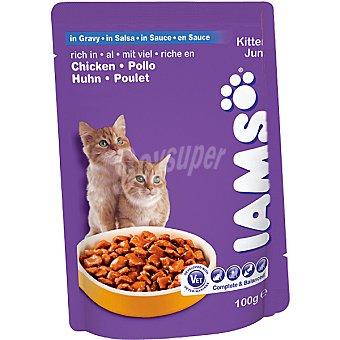 IAMS Alimento para gatitos rico en pollo con salsa bolsa 100 g Bolsa 100 g