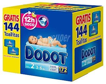 Dodot Caja Pañal T2 + (3-6 kg.) + regalo 144 toallitas 172 pañales + 144 toallitas