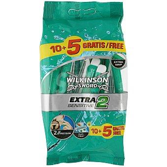 Wilkinson Maquinilla desechable extra 2 sensittive Paquete 15 ud