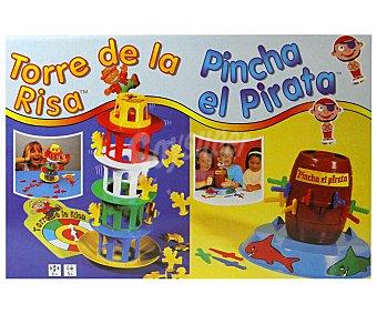 FALOMIR JUEGOS Juegos de Mesa Infantiles Pincha el Pirata y Torre de la Risa, Hasta 4 Jugadores 1 Unidad