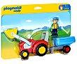 Figura de granjero más Tractor con remolque, 1.2.3 6964 playmobil  Playmobil 1.2.3