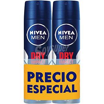 Nivea For Men Desodorante Dry Impact Plus anti-transpirante 48h Pack 2 spray 200 ml