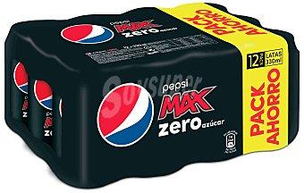 Pepsi Refresco de cola sin azúcares añadidos max Pack 12 unidades de 33 centilitros