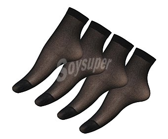 IN EXTENSO Pack de 3 (+1 de regalo) pares de tobilleros de espuma 20 den, color negro, talla única Pack de 3