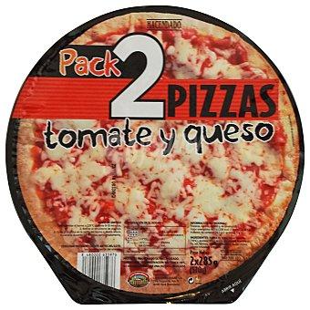 Hacendado Pizza congelada tomate y queso Pack 2 u -570 g