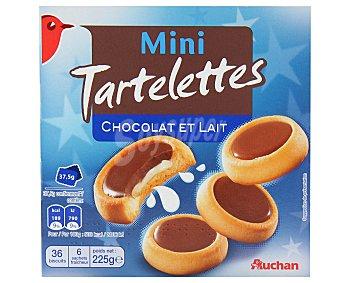 Auchan Tartaletas mini de galleta con relleno de leche y napadas con chocolate con leche 225 gramos