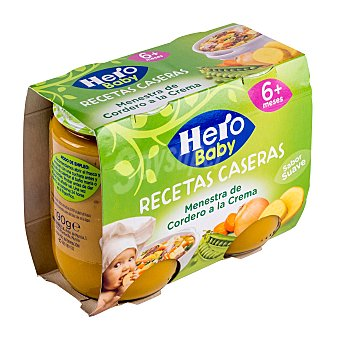 Hero Baby Tarrito menestra de cordero a la crema recetas (sabor suave) a partir de 6 meses 2 unidades de 190 g
