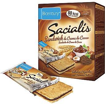 Bicentury sandwich de crema de cacao Sacialis 5 unidades (envase de 90 g)