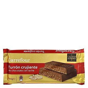 Carrefour Turron crujiente de chocolate con leche 260 g