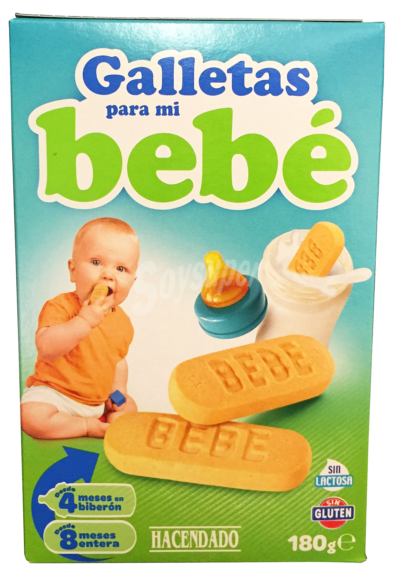 Hacendado galletas para mi bebe sin gluten caja de 180 g - Cereales sin gluten bebe 3 meses ...