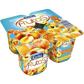 Kaiku Yogur con frutas 2 con melocotón + 2 con albaricoque Pack 4 unidades 125 g