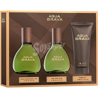Agua Brava Eau de cologne natural masculina + loción after shave frasco 100 ml + shower gel tubo 100 ml spray 100 ml
