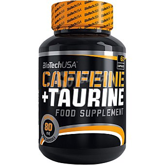 Biotech usa Cafeína y Taurina complemento alimenticio energético bote 60 cápsulas bote 60 c