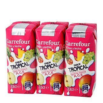 Carrefour Zumo con leche tropical Pack de 3x33 cl