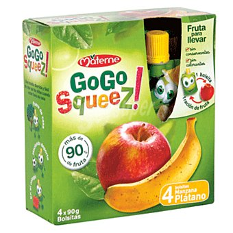 GO Puré de frutas sabor manzana-plátano squeez 4x90 gr