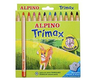 Alpino Estuche deslizante de 12 lápices de colorear con cuerpo triangular y de colores vivos + sacapuntas de regalo 1 unidad