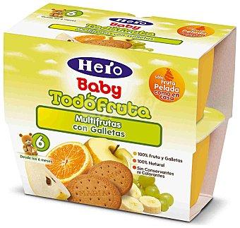Hero Baby Tarrito multifrutas selectas con galleta desde 6 meses estuche 400 g 4x100 g