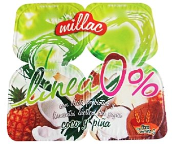 Millac Yogur Desnatado sabor Coco-Piña 4 Unidades de 125 Gramos