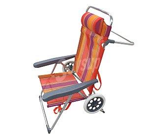 PROFILINE Silla plegable para camping y playa. Fabricada en aluminio con asiento y respaldo de textileno, ruedas extraibles, asa de transporte y medidas 80x50x100 centímetros 1 unidad