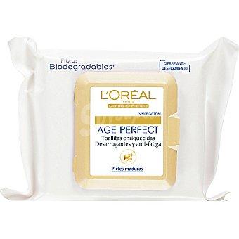 Age Perfect L'Oréal Paris Toallitas desmaquilladoras anti-fatiga pieles maduras Bolsa 25 unidades