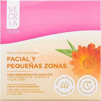 Veckia Cera depilatoria caliente facial con extracto de caléndula y aloe vera caja 100 g para todo tipo de piel Caja 100 g