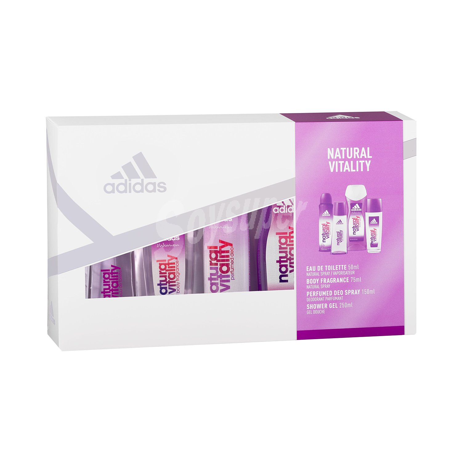 Adidas Lote mujer natural vitality eau toilette (vaporizador 75 ml) + gel ducha perfumado (bote 250 ml) + desodorante (spray 150 ml) + body spray