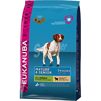 EUKANUBA MATURE & SENIOR Alimento completo para todas las razas en etapa de madurez + 7 años con cordero y arroz bolsa 25 kg Bolsa 25 kg