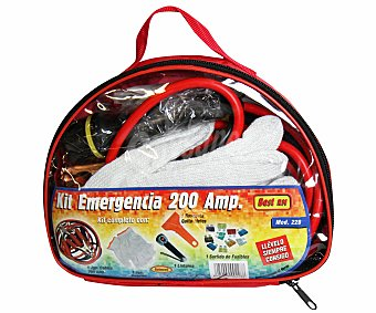 ROLMOVIL Kit de emergencia compuesto por juego de cables reforzados para arranque, que soportan 200 Amperios, 1 par de guantes de lana, 1 linterna, 1 rasqueta para quitar el hielo y un juego de diferentes fusibles de automóvil 1 unidad