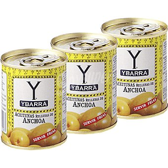 Ybarra Aceitunas rellenas de anchoas Pack 3 latas 50 g